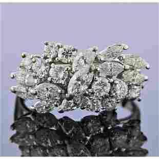 1950s Mid Century 14k Gold Diamond Cluster Ring