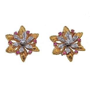 18K Two Tone Gold Diamond Ruby Floral Earrings