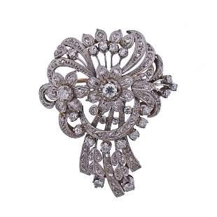 Mid Century Platinum 18k Gold Diamond Brooch Pin
