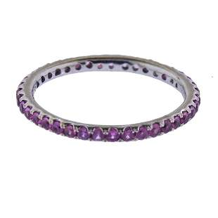 14k Gold Pink Sapphire Eternity Band Ring
