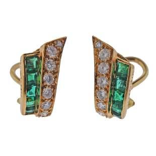 Oscar Heyman 18k Gold Diamond Emerald Earrings