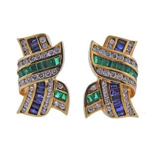 Krypell 18k Gold Diamond Emerald Sapphire Earrings