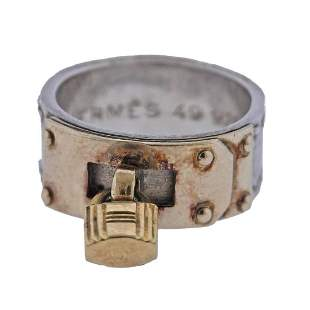 Vintage Hermes Sterling Silver Gold Two Tone Kelly Ring