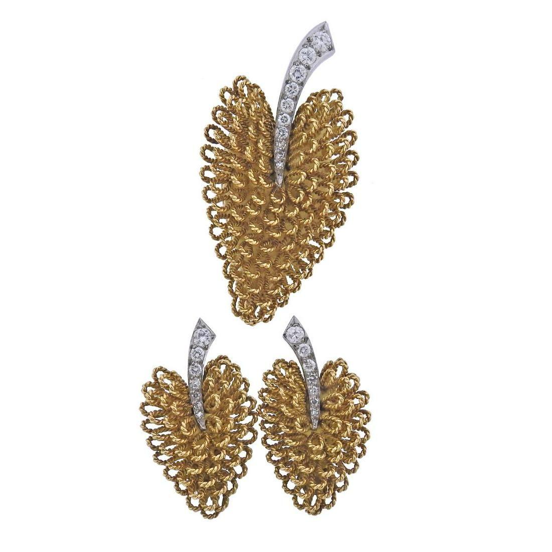 J. E. Caldwell France Mid Century 18k Gold Diamond Leaf