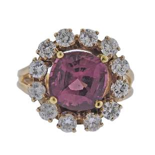 4.90ct Pink Sapphire Diamond 18k Gold Ring