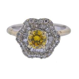 18k Gold Fancy Diamond Engagement Ring