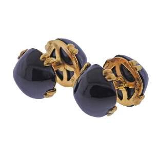 David Webb 18k Gold Onyx Cufflinks