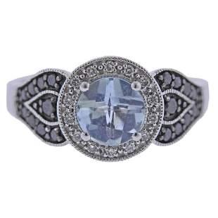 LeVian Le Vian Arusha 14k Gold Aquamarine Black Diamond