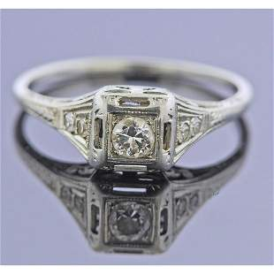 Art Deco 18k Gold Diamond Engagement Ring