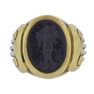 Kieselstein Cord Onyx Intaglio 18k Gold Ring
