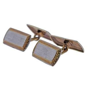 Art Deco 14k Gold Two Tone Cufflinks