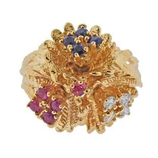 14k Gold Diamond Ruby Sapphire Flower Dome Ring