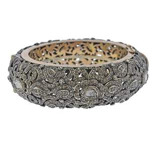 Silver 14k Gold Rose Cut Diamond Bangle Bracelet