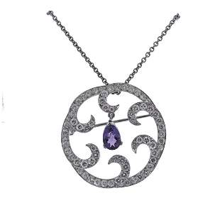 Platinum Diamond Amethyst Brooch Pendant Necklace