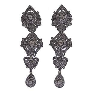 Silver 14k Gold Rose Cut Diamond Long Drop Earrings