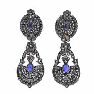 Silver 14k Gold Rose Cut Diamond Gemstone Drop Earrings
