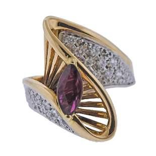 18k Gold Platinum Diamond Ruby Cocktail Ring