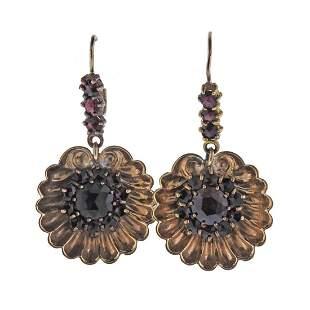 Antique Victorian 14k Gold Garnet Shell Motif Earrings
