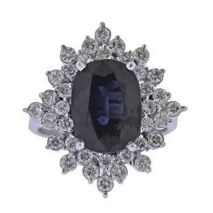 14K Gold Sapphire Diamond Cluster Ring