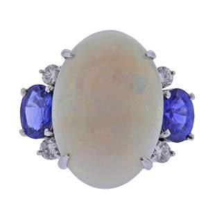 Platinum 8.63ct Opal Sapphire Diamond Cocktail Ring
