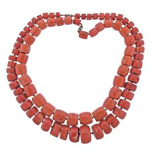 GIA Natural Coral Bead Necklace Set of 2