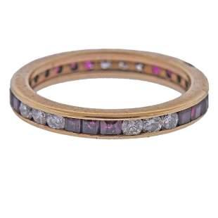 18K Gold Ruby Diamond Wedding Band Ring
