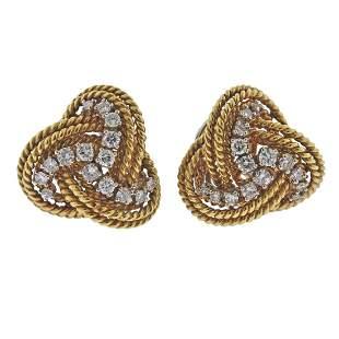 1960s 18k Gold Diamond Woven Earrings