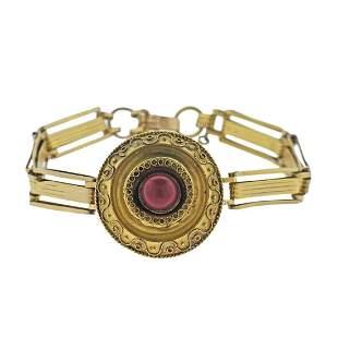Antique Victorian 14K Gold Coral Bracelet