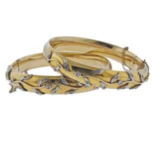 14k Gold Diamond Bangle Bracelet Set