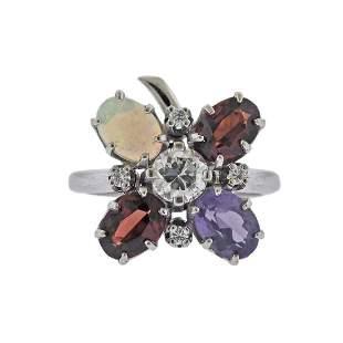 14K Gold Diamond Multi Color Gemstone Floral Ring