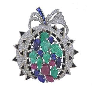 Tutti Frutti 18k Gold Carved Emerald Diamond Brooch