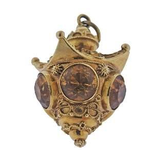 18k Gold Citrine Gemstone Charm Pendant