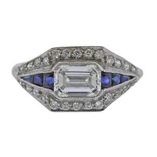 Art Deco Platinum diamond Sapphire Engagement Ring