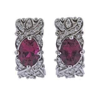 18k Gold Diamond Ruby Half Hoop Earrings