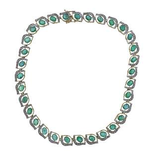 14k Gold 32ctw Emerald Diamond Necklace