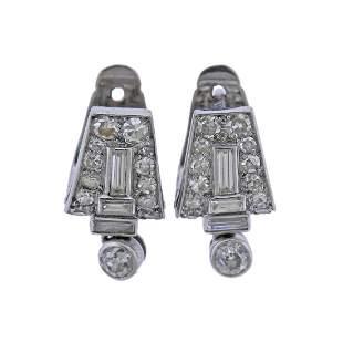 French Art Deco Platinum Diamond Earrings