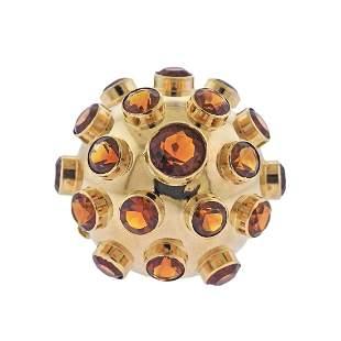 Retro 18k Gold Large Citrine Sputnik Ring
