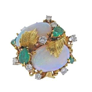 18k Gold Diamond Opal Emerald Cocktail Ring