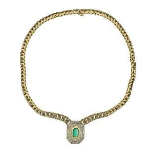 18K Gold 1.25ct Emerald 4.9ctw Diamond Pendant Necklace