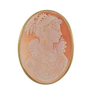 18k Gold Cameo Pendant Brooch Pin
