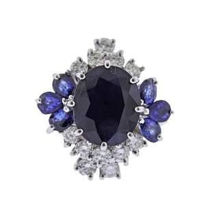 14k Gold Sapphire Diamond Cocktail Ring