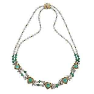 Adler 18K Gold 13.95ctw Emerald Diamond Pearl Necklace