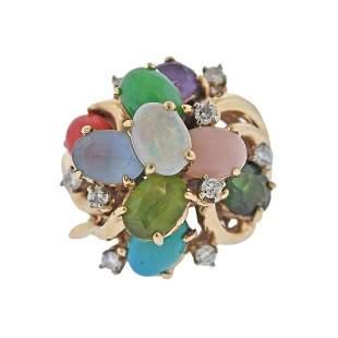 14K Gold Gemstone Diamond Cocktail Ring