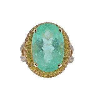 Legato 18K Gold 14.36ct Emerald Sapphire Diamond Ring