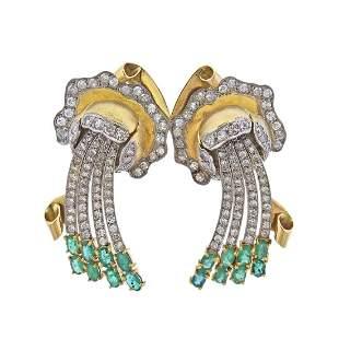 18K Gold Emerald Diamond Earrings