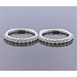 18k Gold Diamond Wedding Band Ring Set