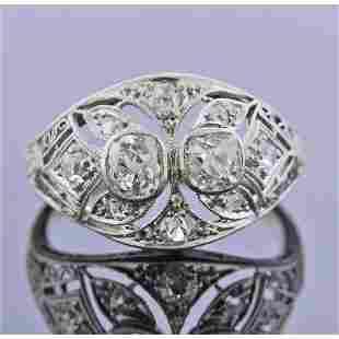 Art Deco Platinum Gold Diamond Ring