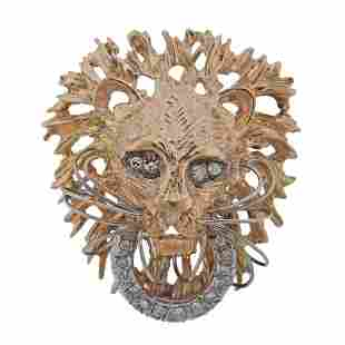 14k Gold Diamond Lion Brooch Pendant