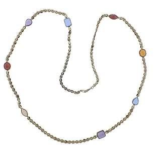 14k Gold Gemstone Long Station Necklace
