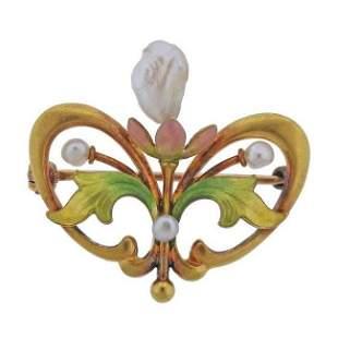 Art Nouveau 14k Gold Enamel Pearl Brooch Pin